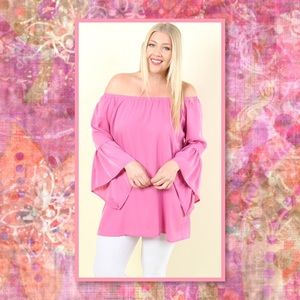 1 LEFT➕🆕Plus Pink Bell Sleeve Off Shoulder Top